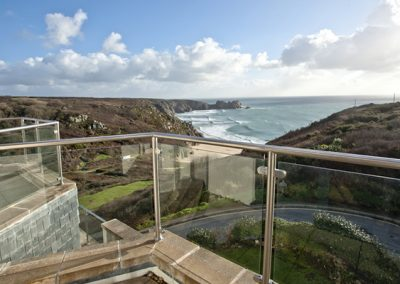 Stunning views over the beach from the balcony @ The Penthouse, Porthcurno, Penzance
