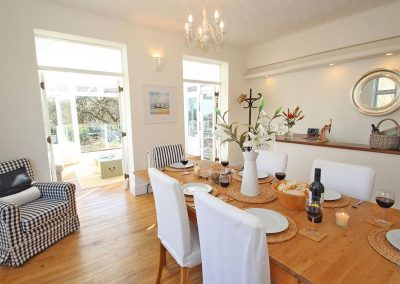The dining area at Porthcurno Bay View, Porthcurno