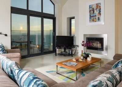 The living area at Porthleven Glass House, Porthleven
