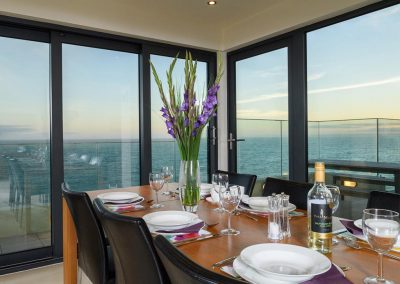 The dining area at Porthleven Glass House, Porthleven