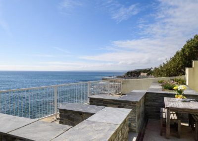 The lower terrace at Porthleven Glass House, Porthleven