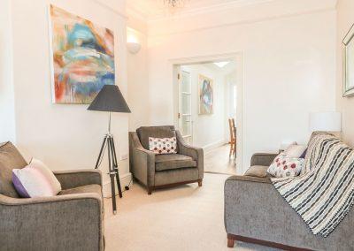 The living area at Porthmeor Beach House, St Ives