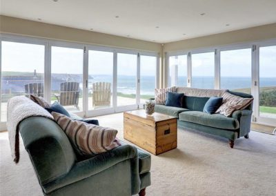 The ground floor living area at Porthtowan Retreat, Eastcliff