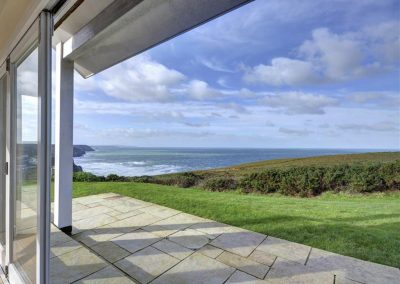 The patio & view from Porthtowan Retreat, Eastcliff