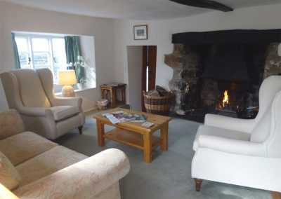 The living area at Primrose Cottage, Drewsteignton