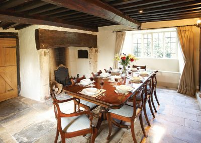 The dining room at Redgate Farm, Shute