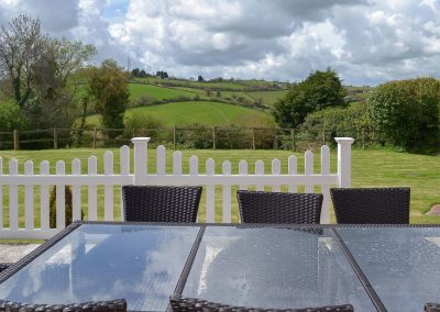 The patio at Ridge House, Higher Gabwell
