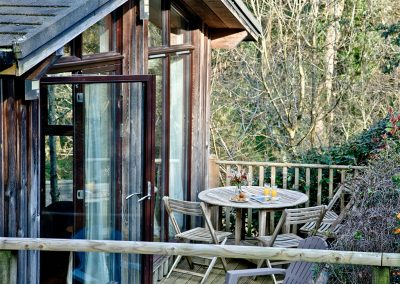 The decked terrace at Riverside, Gara Mill, Slapton