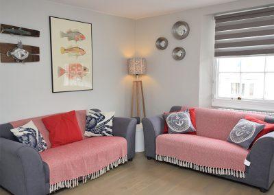 The living area at Riverside Loft, Fowey
