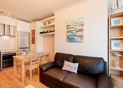 The living area at Rockend, Brixham