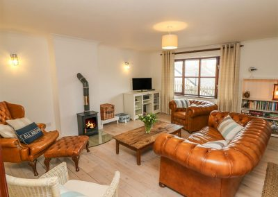 The living area at Rockham Bay View, Mortehoe