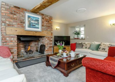 The living area at Rocombe Thatch, Higher Gabwell