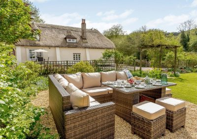 The sitting out area at Rocombe Thatch, Higher Gabwell