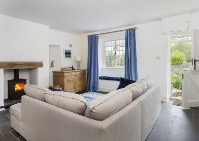 The living area at Rose Cottage, Ashprington