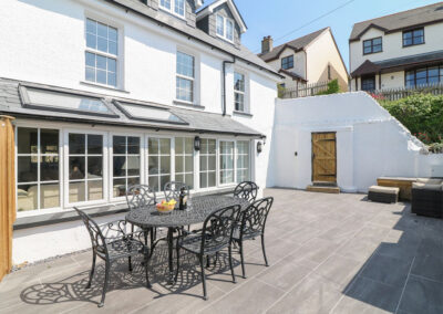 The patio & alfresco dining area at Rosebank Cottage, Woolacombe