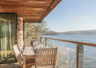 The decked balcony at Sandridge Boathouse, Stoke Gabriel