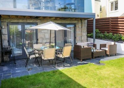 The outdoor patio & garden at Seafield, Carbis Bay