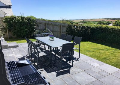 The outdoor patio & garden at Seal Cove, Crantock