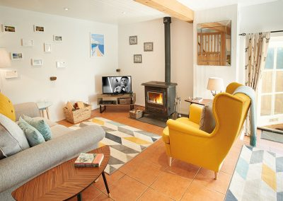 The living area at Seekings Cottage, Knowstone