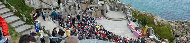 """One of the best known theatres in Cornwall is the Minack Theatre, an amazing man-made auditorium carved into the cliffs at Porthcurno and aptly known as the """"Theatre under the stars""""."""