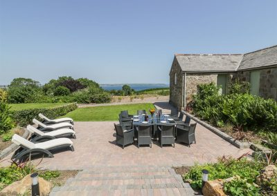 The outdoor patio at Silvermine House, Porthpean