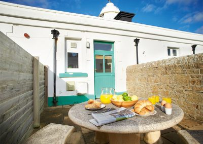 The private patio at Solebay, Pendeen Lighthouse, Pendeen
