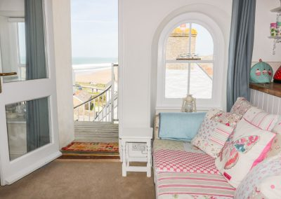 The living area at Spiral View, Perranporth