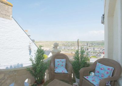 The patio at Spiral View, Perranporth