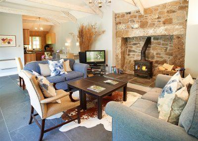 The living area at Spring Water Barn, Bonython Estate, Cross Lanes