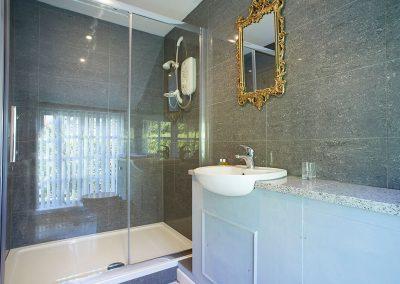 The en-suite shower room at Spring Water Barn, Bonython Estate, Cross Lanes
