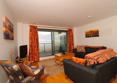 The open-plan living area at Sunrise, Nassau Court, Westward Ho!
