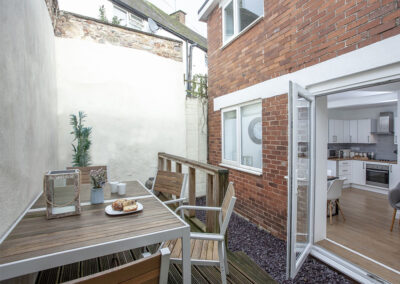 The private courtyard at Swan Cottage, Dawlish