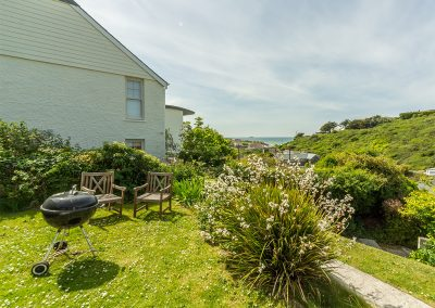 The garden & barbecue area at Tamarisk, Polzeath