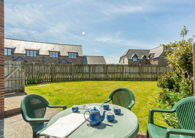 The patio & garden at Tamarisk, Roserrow, Polzeath