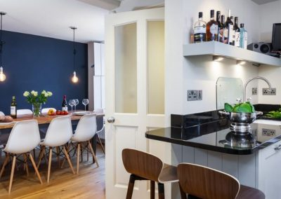 The kitchen & dining area at The Bank House, St Agnes