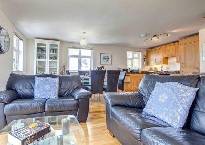The living area at The Bay, Bigbury on Sea