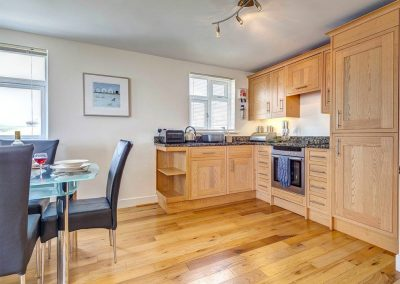 The open-plan kitchen at The Bay, Bigbury-on-Sea
