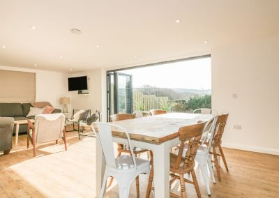 The open-plan dining area at The Beach Halt, Perranporth