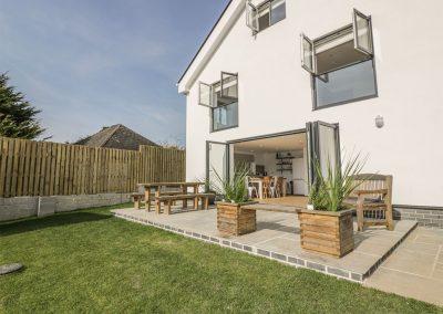 The outdoor patio & garden at The Beach Halt, Perranporth