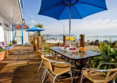 The front terrace & sea views at The Beach House, Paignton