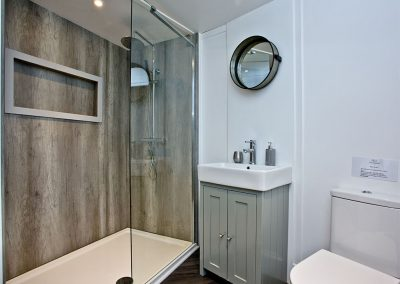 The shower room at The Boat House Roundhouse, East Thorne, Kilkhampton
