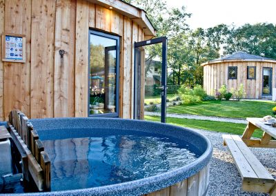 The hot tub at The Boat House Roundhouse, East Thorne, Kilkhampton