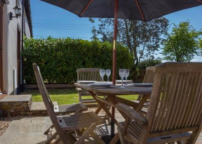 The outdoor patio at The Croft, Holsworthy