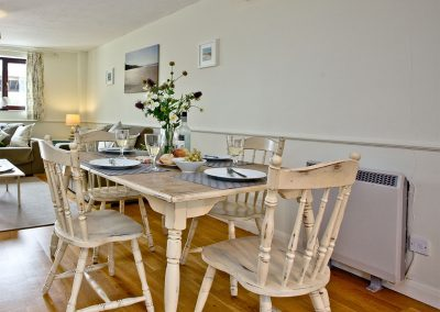 The dining area at The Cwtch Cottage, East Thorne, Kilkhampton