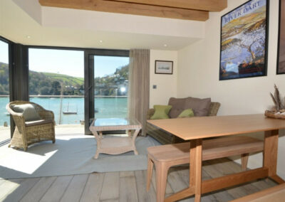 The living & dining area at The Edge, Kingswear