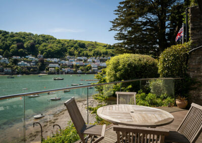 The breathtaking river view from the patio at The Edge, Kingswear