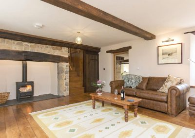The living room at The Farmhouse at Higher Westwater Farm, Westwater