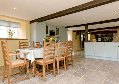 The dining room at The Farmhouse at Higher Westwater Farm, Westwater