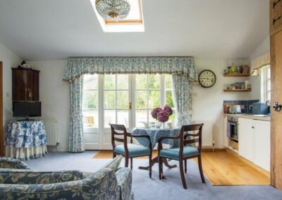 The living & dining area and kitchen at The Folly, Bratton Fleming