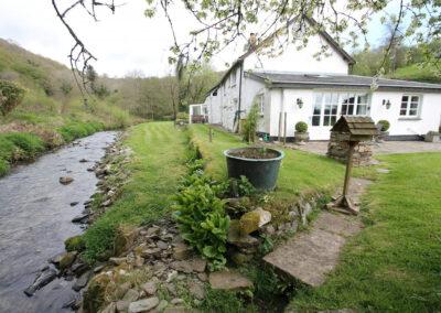 The stream & garden at The Folly, Bratton Fleming